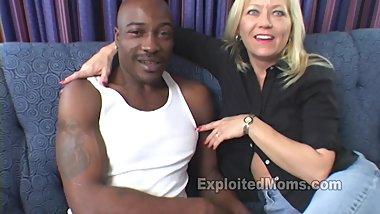 Blonde Mom Stuffs a Big Black Cock up her Ass in Mature Anal Video