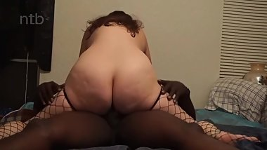 Hubby getting blowjob while bbc fucking his wife