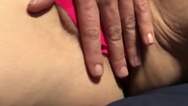 Amateur Cougar Solo Masturbate in Pink Panties using Magic Wand Vibrator