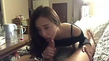 Asian teacher blows her student and swallows his load with entrancing voice