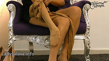 Herrin Carmen Layered Shiny Nylons Pantyhose High Heel Pumps Freehand JOI