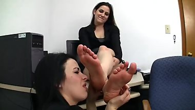 Foot worship in the office