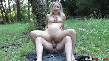 Blonde Girl Rides A Cock Outdoors