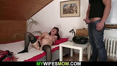 Motherinlaw toying herself before swallowing his cock