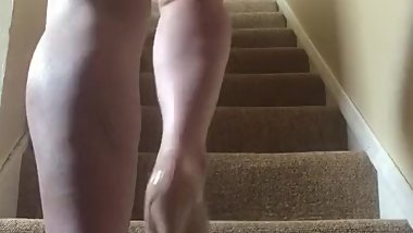 Nude up the stairs