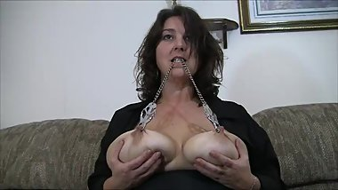Chastity uses her nipple clamps