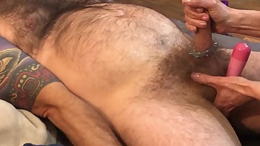 Wife gives Massaging Hand Job then uses Vibrator on Balls and Ass asl I Cum