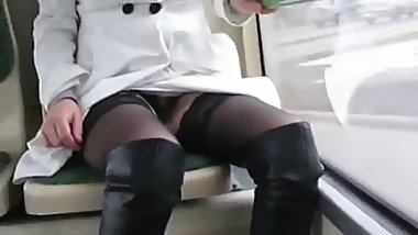 English milf on the train showing her boots
