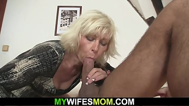 Blonde mother in law seduces him into sex