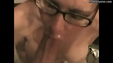 cumshot on face and glasses my wife Brenda