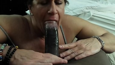 Awesome White Granny sucking Black Cock in a hotel room