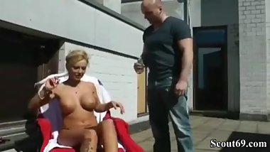 Son Caught Blonde Mom Tanning And Then Fucked Her Tiny Pussy