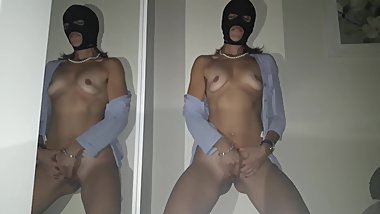 horny and masked wife masturbates until cumming