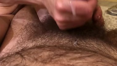 Love watching my hubby squirm from my touch until he cums - quickie handjob