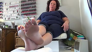 Mature friendly woman Ticklish feet
