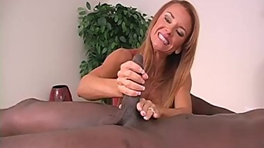 Hot redhead milf giving handjob to BBC with cumshot