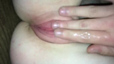Pussy fingered while she sucks cock