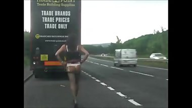 Tranny Candi flashing the motorists on UK roads