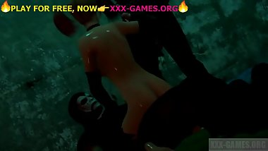 Threesome oiled sex, harley quin, xxx 3d game