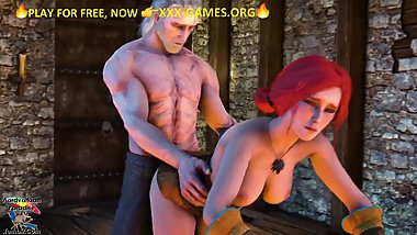 Redhead girl in medieval castle. Porn game