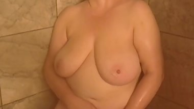 Naughty Raven Loves Masturbating While Showering