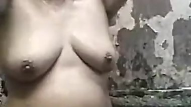 chubby filipina granny with big tits taking shower on webcam