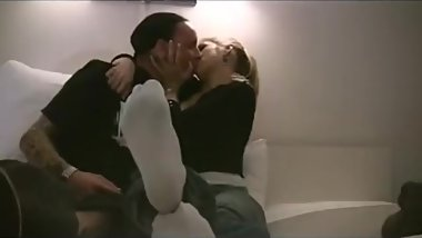 Hot blonde goddess gets hugs from BF due to wearing white socks for him