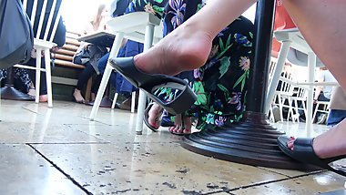 Mature Lady's Design Sandals In Front, Girly Flip Flops In The Back