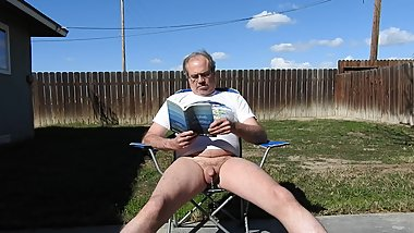 A daddy (me) reading and peeing.