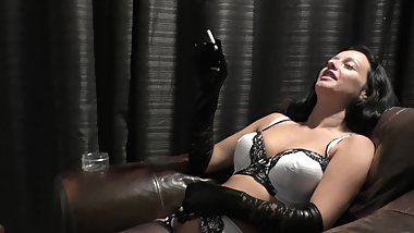 Smoking In Black Gloves And White LIngerie - Smoking Fetish - Cassie Clarke