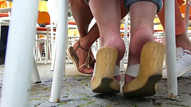 Mature Ladies' Sandal Teasing With Pretty Barefeet