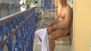 Hot Daddy Jerkying At The Balcony.