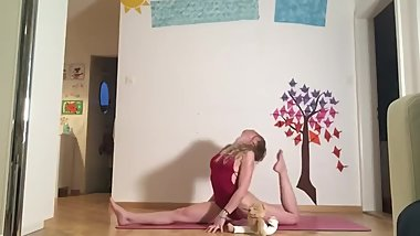 Rhyanna Watson - Splits flow on Vimeo [Red Leotard/Swimsuit]