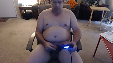 NAKED PLAYING VIDEO GAME