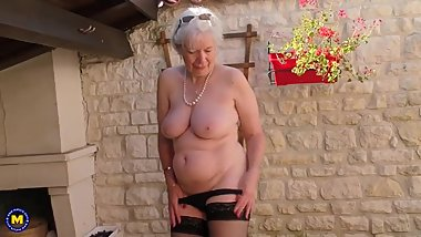 British horny granny playing outside
