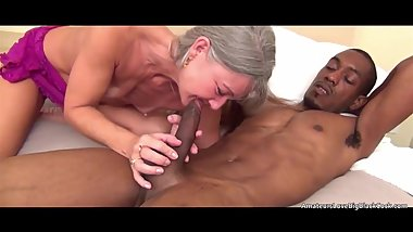 Flat chested white mature cannot get enough big black cock
