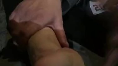 Interracial footjob