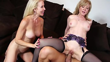 Hot MILF threesome as Nina Hartley & Erica Lauren bang a lucky stud