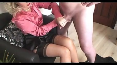 Mom Jerks Off Dad, He Cums On Her Stockings