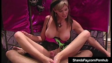 Cum Shot Fishnet Foot Fucking By Smoking Cougar Shanda Fay!