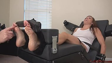 Milf Nikki foot tickled in stock