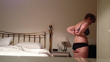 Mature British wife voyeured while undressing - Sue on show