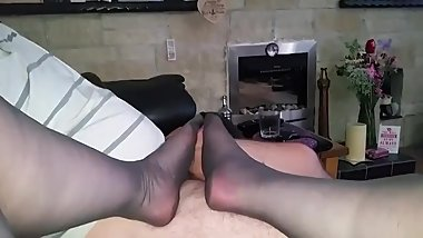 black stockings footjob cumshot