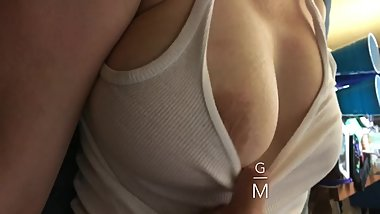 Playing With My Sleeping Step Mom's Huge Boobs, big MILF tits jiggle 3