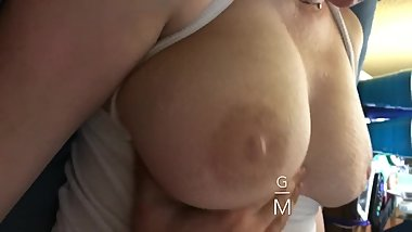 Playing With My Sleeping Step Mom's Huge Boobs, big MILF tits jiggle 4