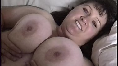 Amateur MILF Squeezes Massive Tits, Big Natural 42E breasts
