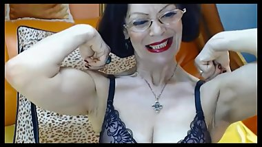 Fabulous Russian granny with the body of a 40 year-old flexes her muscles