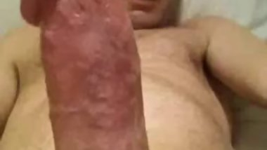 wanking my hard erect cut cock close up