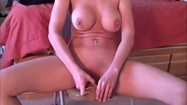 Wife home alone dildo riding.